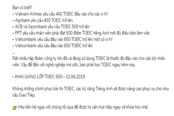 Mẫu content khóa học TOEIC