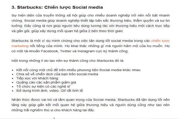 Chiến lược Social Media Marketing của Starbucks