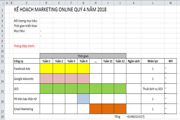 Mẫu kế hoạch marketing online theo quý