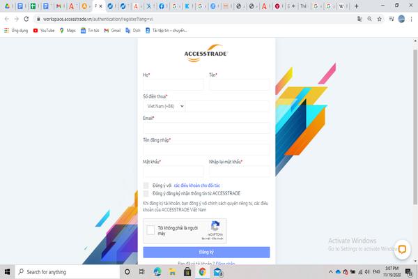 Đăng ký tài khoản trên nền tảng Accesstrade