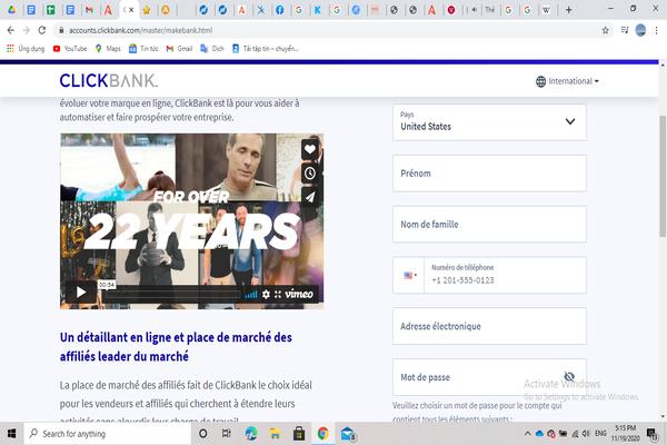 Đăng ký tài khoản trên nền tảng ClickBank