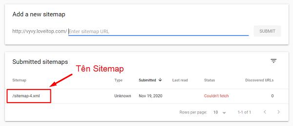 Chọn tên sitemap cần khắc phục lỗi.