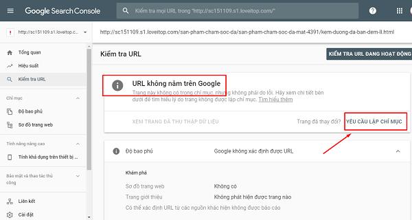 Kết quả URL chưa được Google index.