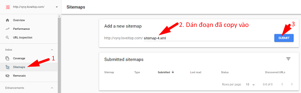 Submit file sitemap vừa tạo.