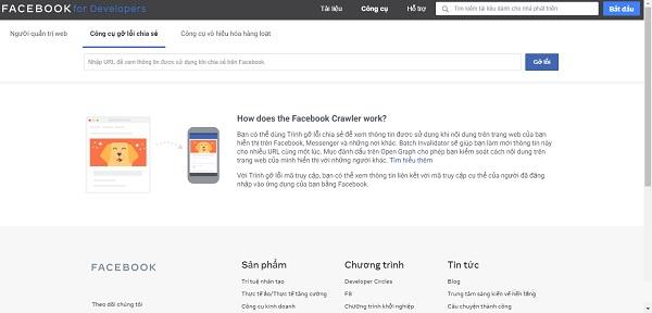 Giao diện trang Sharing Debugger
