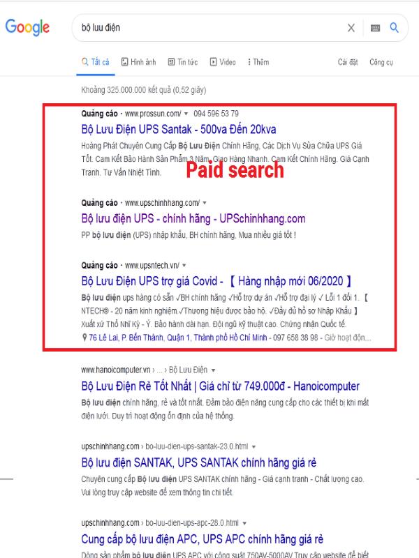 """Ví dụ trả lời câu hỏi """"Paid search là gì?"""""""