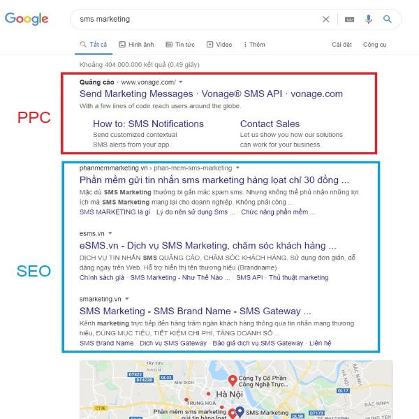 Sự khác nhau về vị trí tìm kiếm giữa SEO và Pay per click là gì?