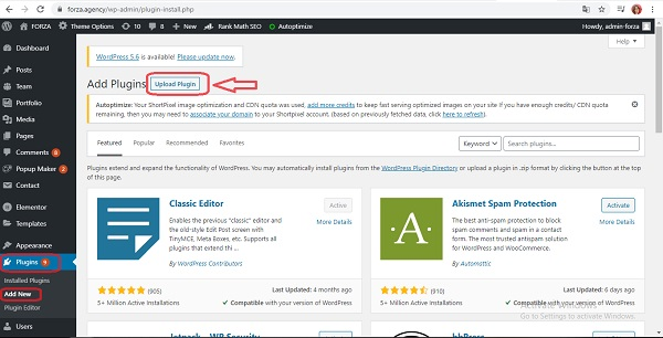 Chọn Upload Plugin trong mục Add New.